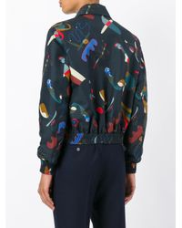 Ferragamo - Blue Printed Jacket for Men - Lyst