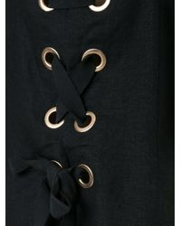 Venroy - Black Eyelet Lace-up Back Dress - Lyst