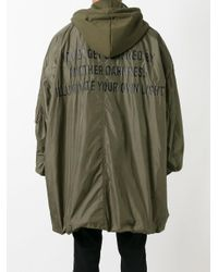 Juun.J - Green Hooded Oversized Coat for Men - Lyst