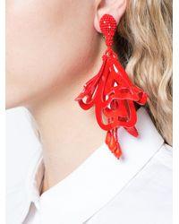 Oscar de la Renta - Red Lace Impatiens Earrings - Lyst
