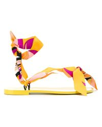Emilio Pucci | Yellow Scarf Sandals | Lyst