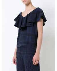 Cecilie Copenhagen - Blue V-back Ruffle Top - Lyst