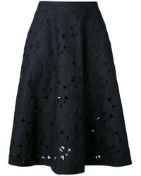 Aspesi - Black Embroidered Skirt - Lyst