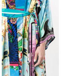 Rianna + Nina - Blue Printed Long Sleeve Kimono Jacket - Lyst