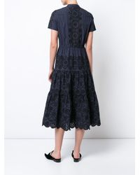 Sea | Blue English Embroidery Pinstriped Dress | Lyst
