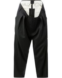 Moohong - Black Attached Layered Waist Trousers - Lyst