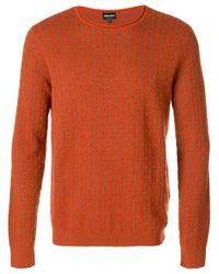 Giorgio Armani   Orange Patterned Jumper for Men   Lyst