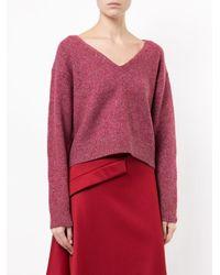 Astraet | Pink V-neck Sweater With Longer Back | Lyst