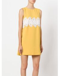 Sara Battaglia Yellow Lace Mini Dress