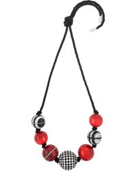 Marc Jacobs - Red Striped Rope Bead Necklace - Lyst