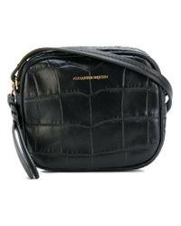 Alexander McQueen - Black Crocodile Effect Crossbody Bag - Lyst