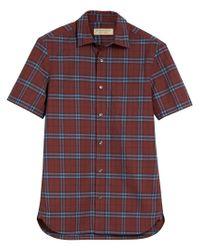 Burberry - Red Short-sleeve Check Shirt for Men - Lyst