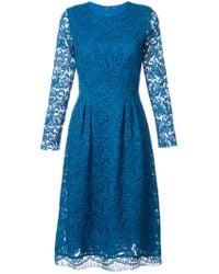 Adam Lippes | Blue Flared Lace Dress | Lyst