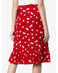 Miu Miu - Red Strawberry Print Ruffle Wrap Skirt - Lyst