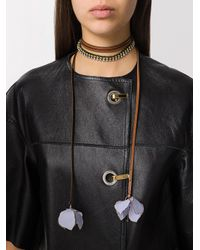 Marni - Brown Embellished Necklace With Floral Pendants - Lyst
