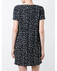 Les Copains | Black Flocked Effect Dress | Lyst