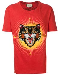 e11bffbe3ac Gucci  angry Cat  Appliqué T-shirt in Red for Men - Lyst