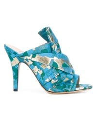 Gianluca Capannolo - Blue Patterned Heeled Mules - Lyst