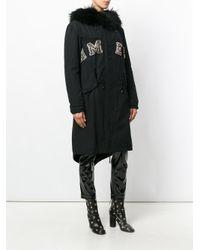 Amen - Black Embellished Fur Hooded Parka - Lyst