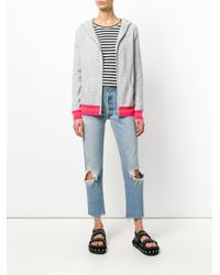 Chinti & Parker - Gray Stripe Trim Zipped Hoodie - Lyst