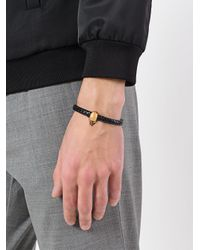 Alexander McQueen - Black Skull Embellished Bracelet for Men - Lyst