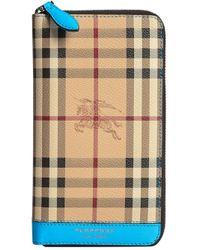 Burberry - Natural Haymarket Check Ziparound Wallet for Men - Lyst