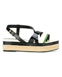 Lanvin - Black Strap Detail Wedge Sandals - Lyst