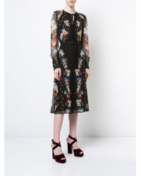 Erdem - Black Floral-print Dress - Lyst