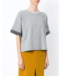 Egrey - Gray Panelled T-shirt - Lyst
