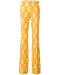 Miu Miu Yellow Cats Print Pants