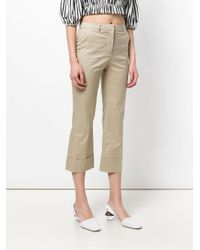 L'Autre Chose Natural Cropped Flared Trousers