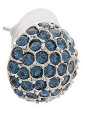 Oscar de la Renta - Blue Dome Button Earrings - Lyst
