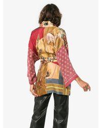 Rianna + Nina - Multicolor Short Multi Floral Horse Print Silk Kimono Robe - Lyst