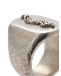 Henson - Metallic Lion Crest Signet Ring - Lyst