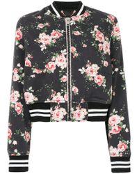 DIESEL - Black Floral-print Bomber Jacket - Lyst