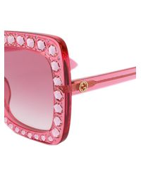 Gucci | Pink Crystal-embellished Square-frame Acetate Sunglasses | Lyst