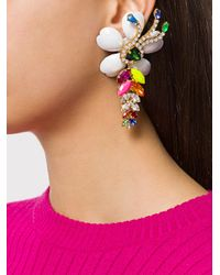 Shourouk - Multicolor Oversized Floral Pendant Earrings - Lyst