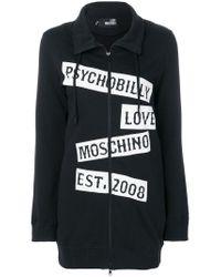 Love Moschino | Black Printed Zip-up Sweatshirt for Men | Lyst