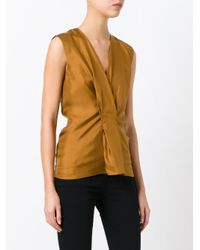 Maison Margiela - Brown Pleated Front Sleeveless Blouse - Lyst