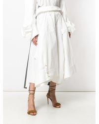 Awake - White Cropped Wide-leg Trousers - Lyst