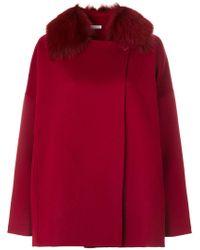 P.A.R.O.S.H. - Red Fox Fur Trim Cape Coat - Lyst