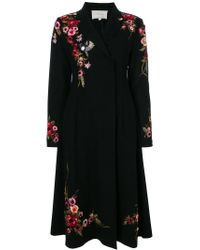 Amen - Black Floral Embroidered Concealed Double Breasted Coat - Lyst