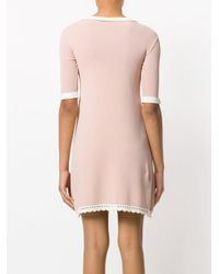 RED Valentino - Pink Embroidered Trim Dress - Lyst