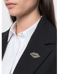 Sonia Rykiel - Metallic Embellished Lips Brooche - Lyst