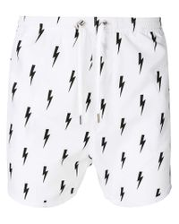 Neil Barrett - White Lightning Bolt Print Swim Shorts for Men - Lyst