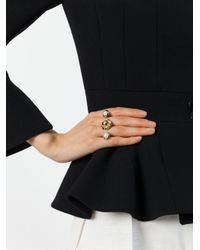 Eshvi - Metallic 'astro Double Finger Ring - Lyst