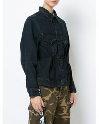 Proenza Schouler - Gray Denim Jacket With Drawstring - Lyst