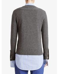 Burberry - Brown Cashmere Cable Knit Yoke Sweater - Lyst