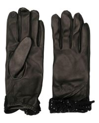 Twin Set - Black Bow-embellished Gloves - Lyst