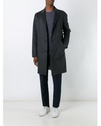 Theory - Gray Reversible Single Breasted Coat for Men - Lyst